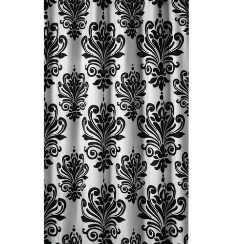 extra long shower curtain 72 x 78 inch gamma black and white baroque fabric