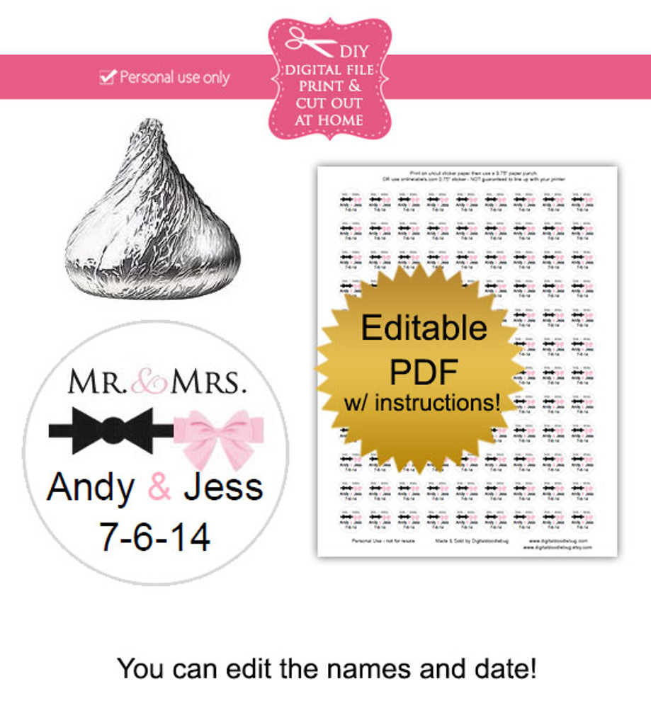 Mr Mrs Printable Candy Stickers