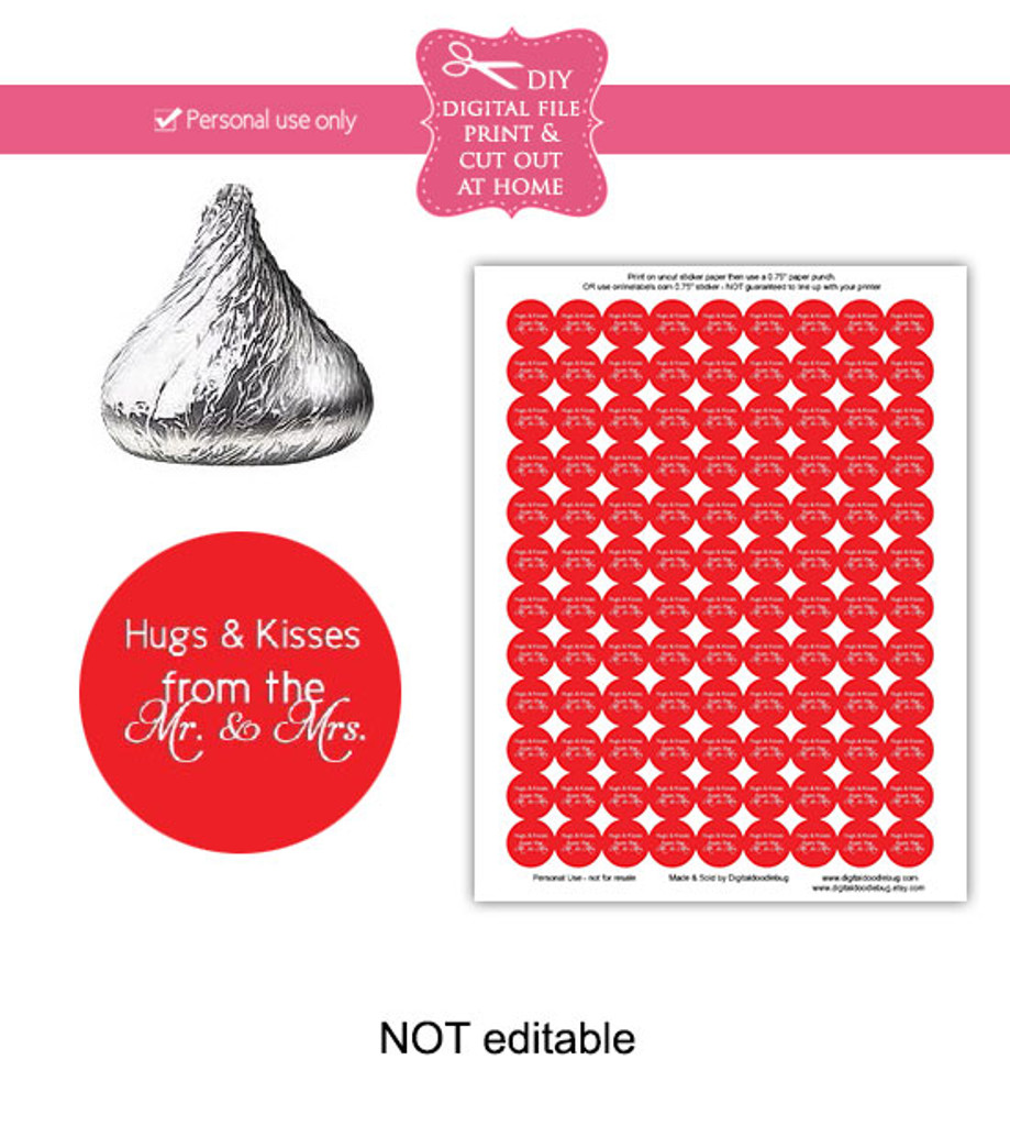 Red Hugs Kisses Printable Candy Stickers
