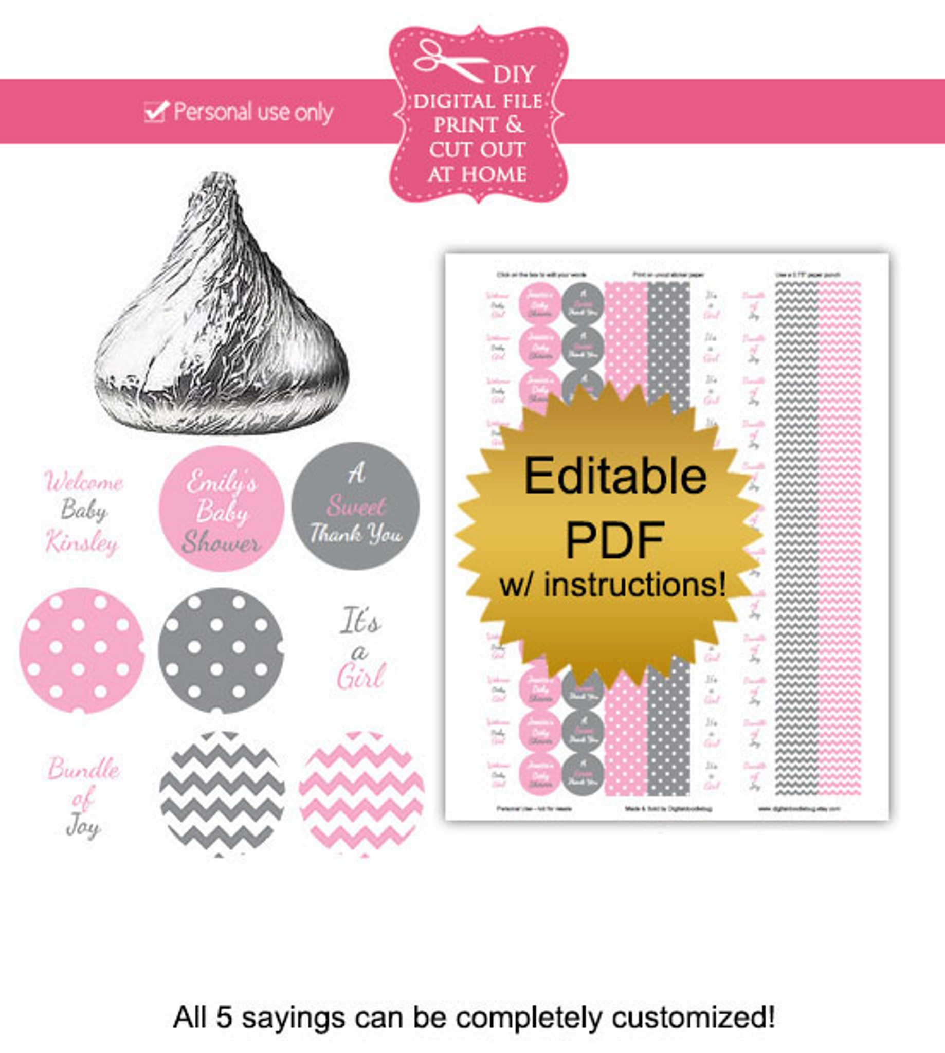 Pink Gray Printable Candy Stickers