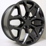 Chevy Style Satin Black Snowflake 22 Inch Wheels