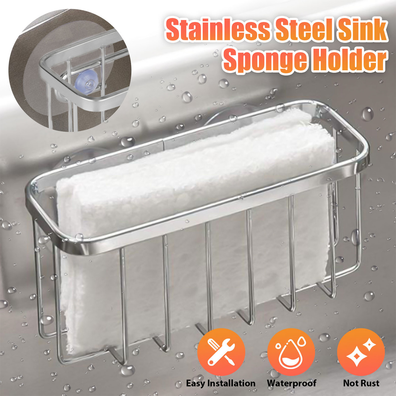 kitchen sink sponge brush holder stainless steel rustproof dish organizer basket for holding sponges soap in kitchen and bathroom sink caddy with
