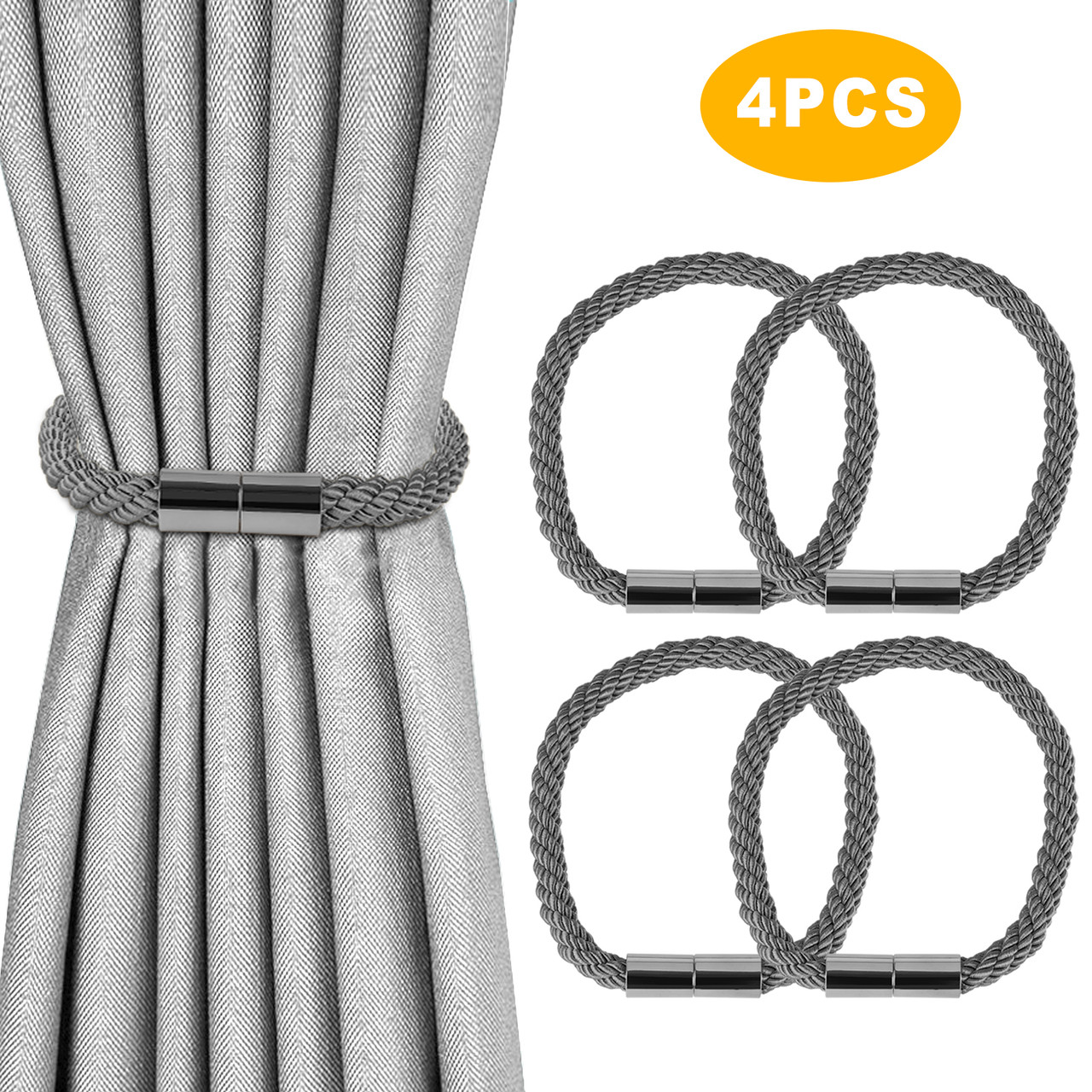 https wowparts com magnetic curtain tiebacks decorative curtain rope holdbacks strong magnetic draperies tiebacks window curtain buckle holders perfect for living room bedroom dinning room office gray 4pcs