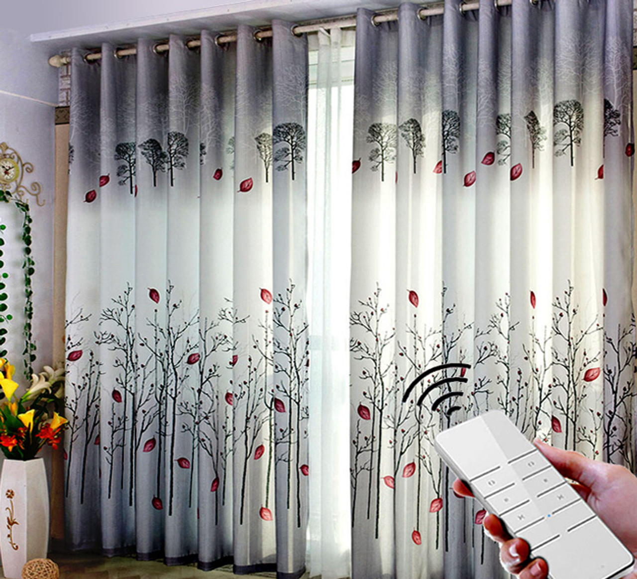motorized curtain with decorative tracks rods