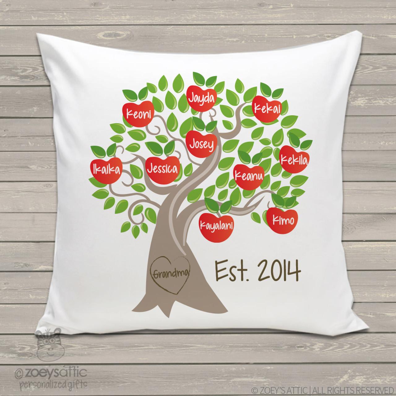 grandma family tree throw pillow custom personalized apple tree pillowcase with pillow insert