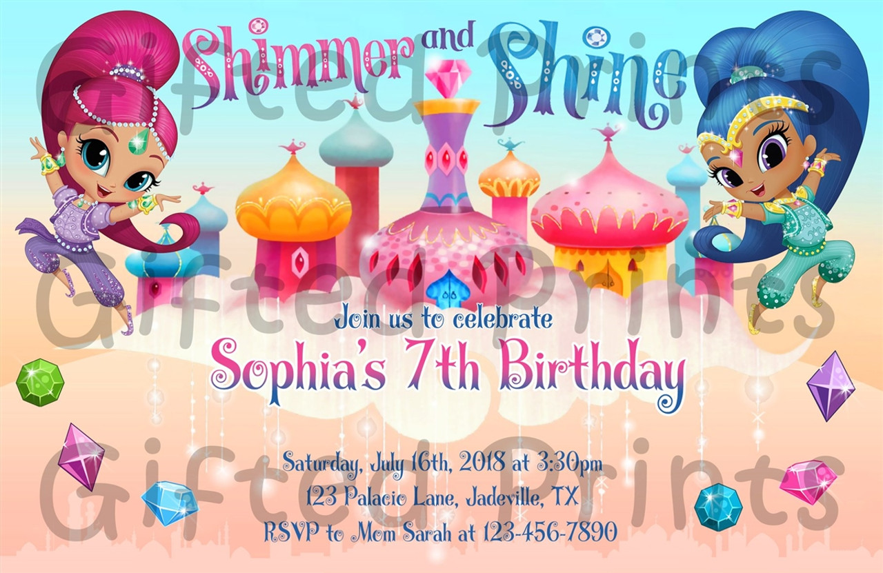 shimmer and shine birthday invitation