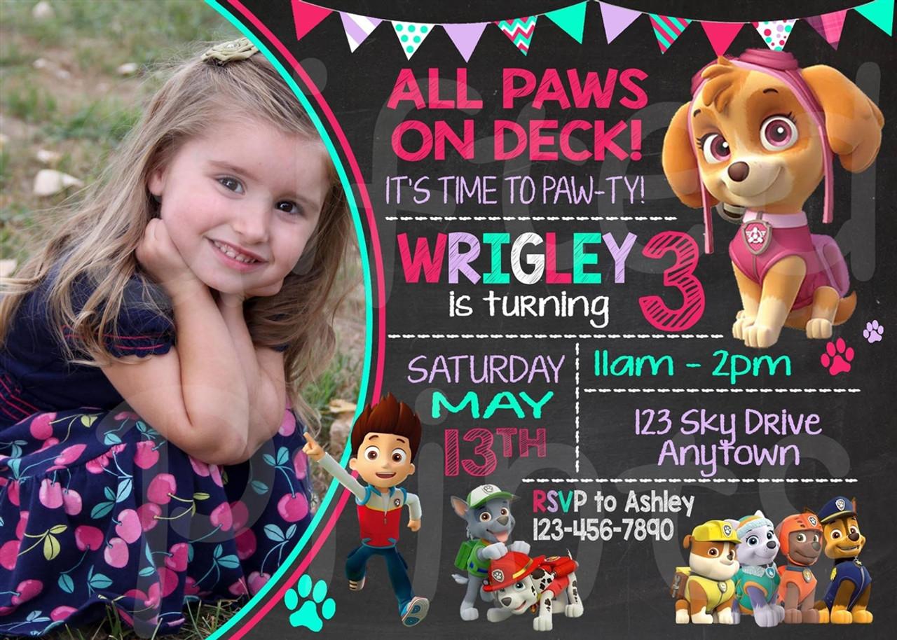 Birthday Invitation Skye Paw Patrol Theme
