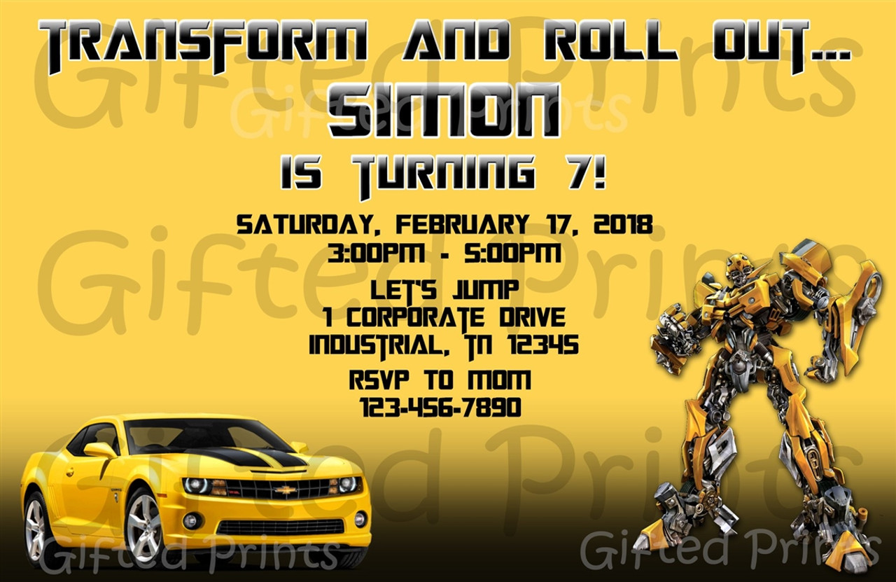 https giftedprints com invitations bumblebee transformers birthday invitation 0785 transformers