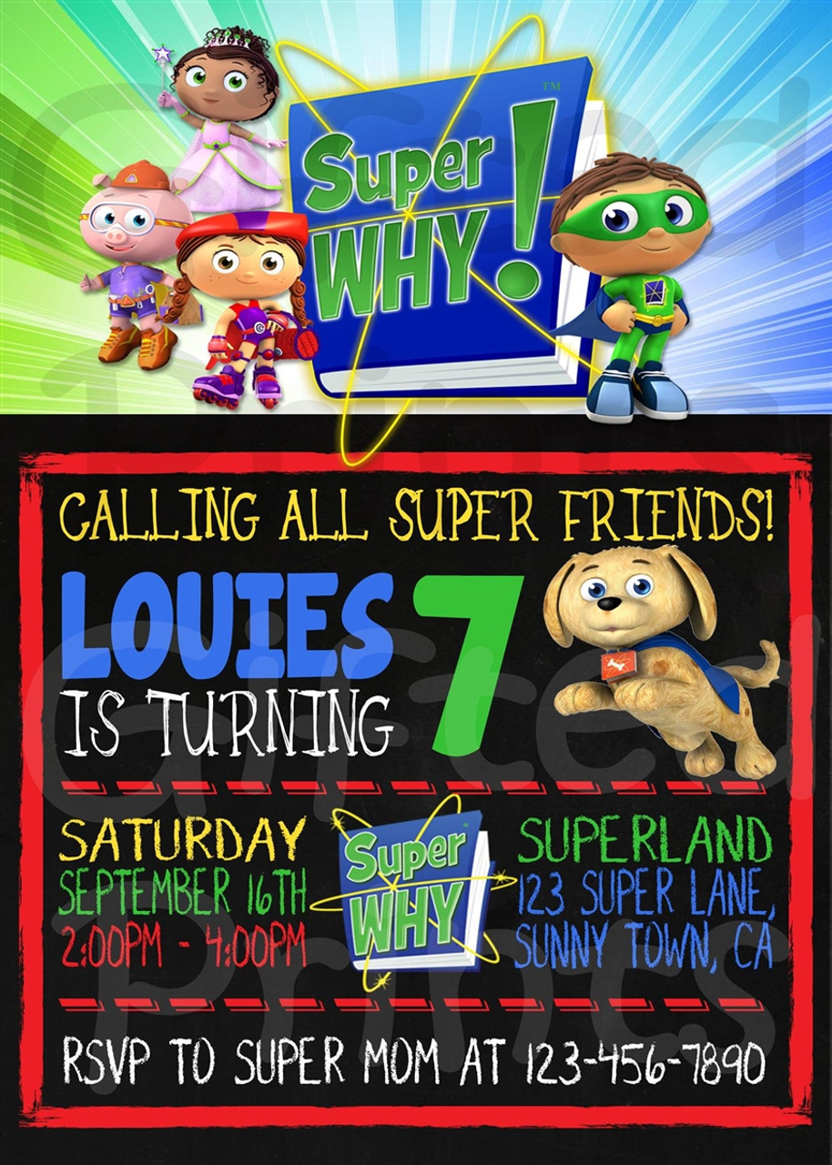 super why birthday invitation 1