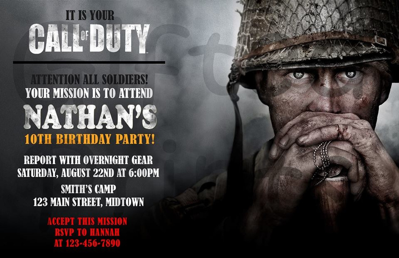 call of duty wwii birthday invitation