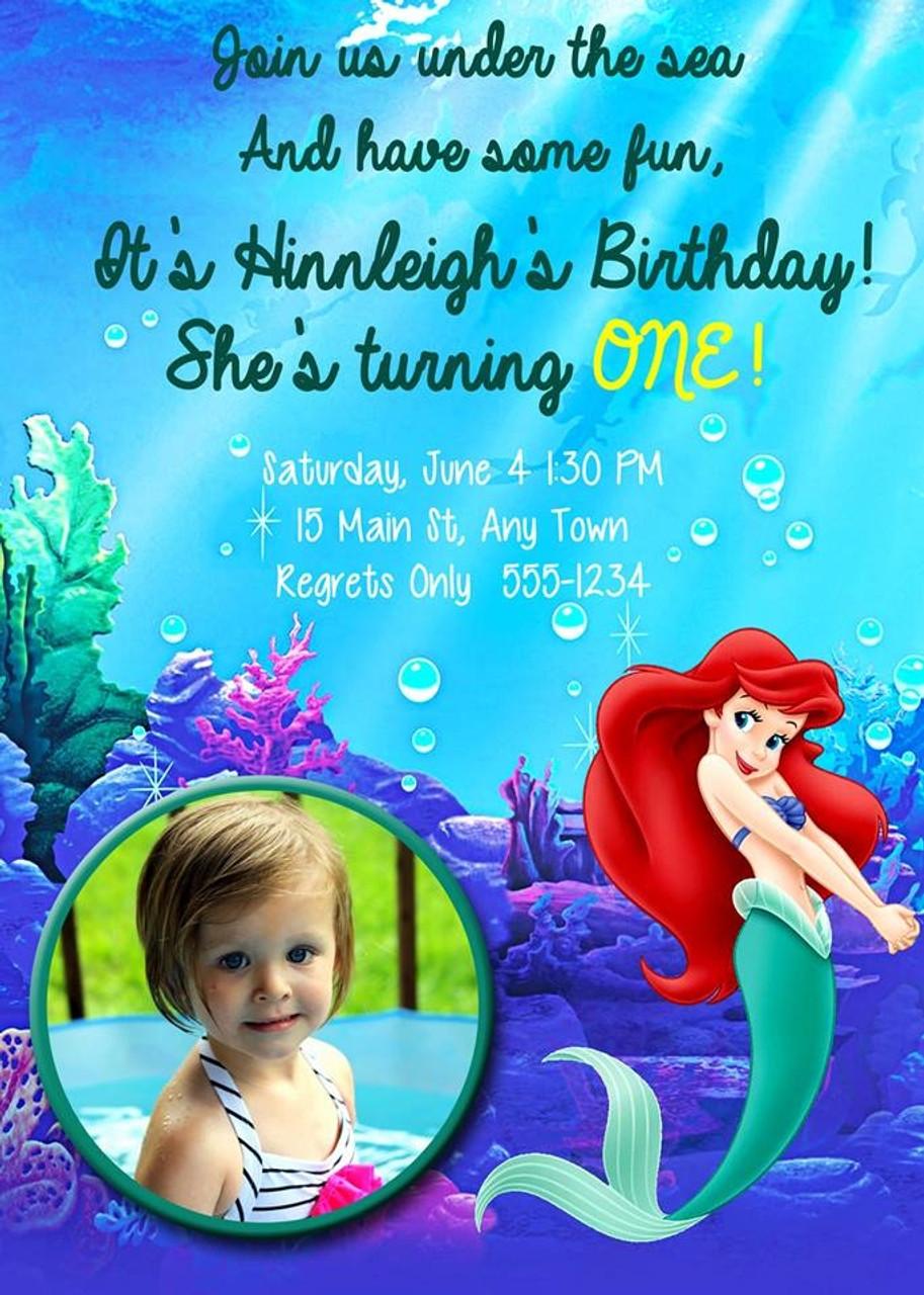 little mermaid birthday invitation 1