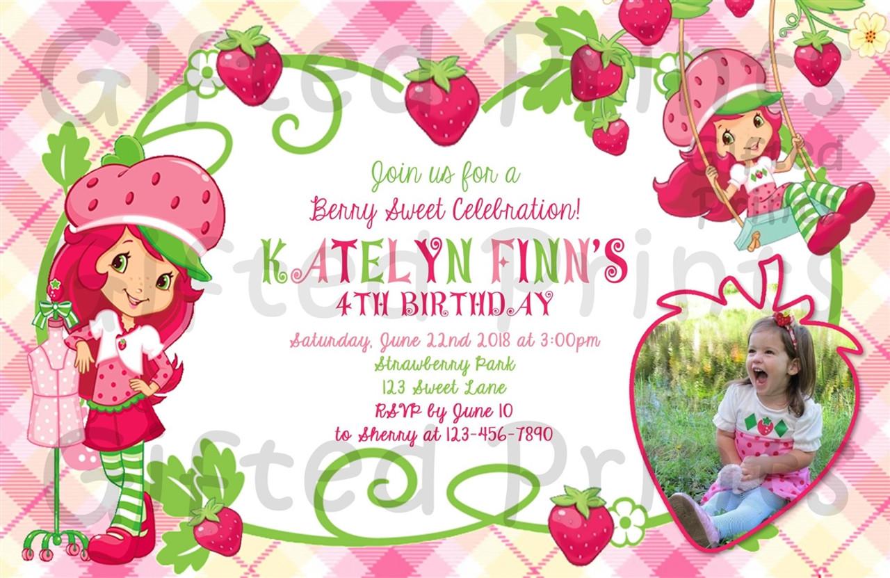 strawberry shortcake birthday invitation with picture