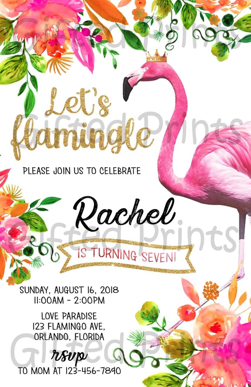 flamingo birthday invitation tropical theme