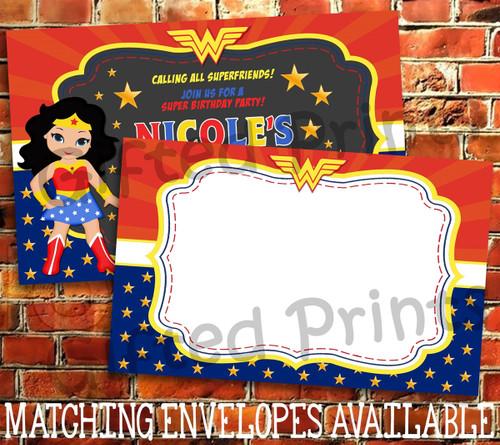 https giftedprints com invitations wonder woman birthday invitation 0709 wonder woman