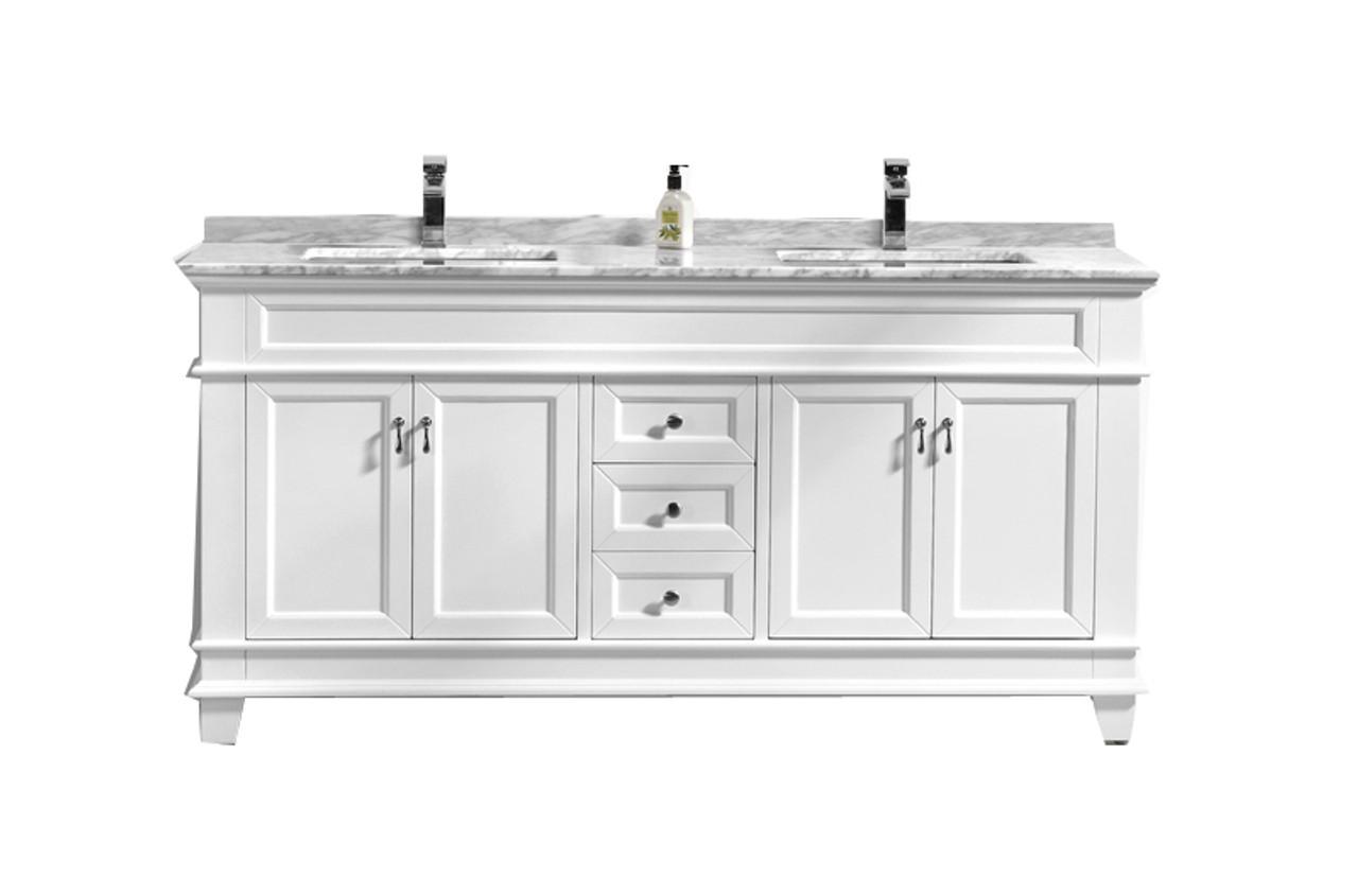 castillo 72 double sink bathroom vanity with carrara marble top