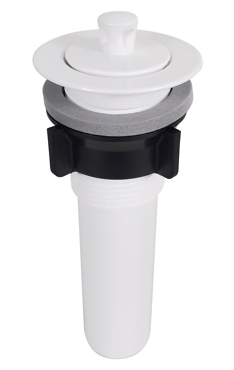 rv drain for lavatory sink plastic w stopper and flange 1 1 4 x 5