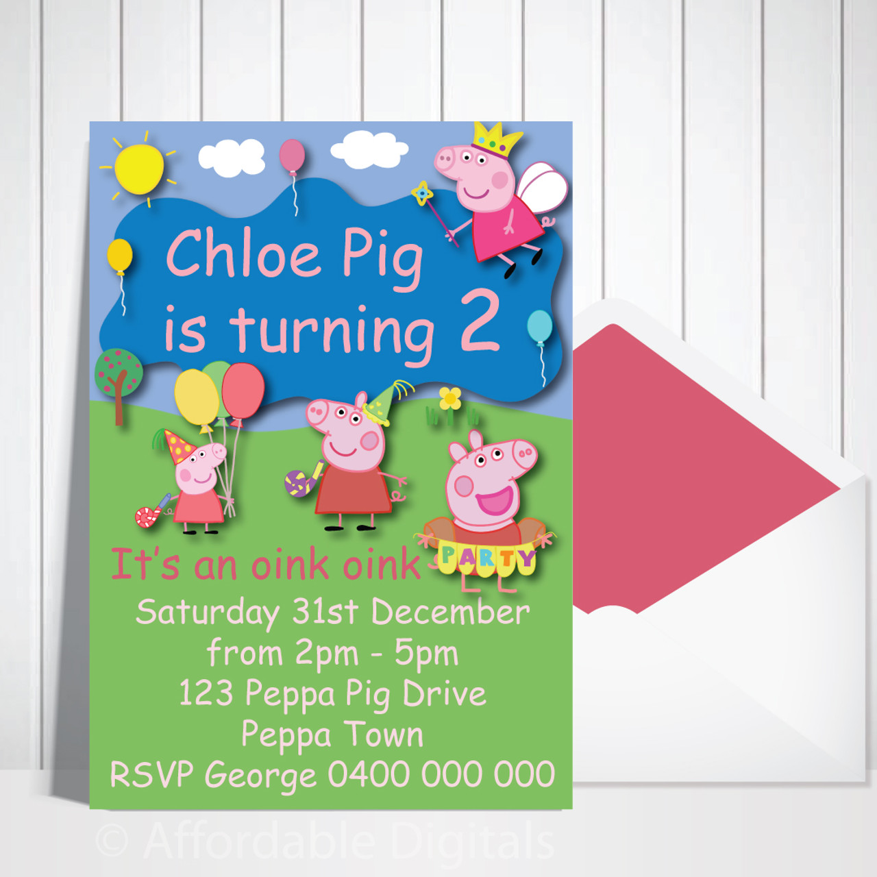 digital emailed peppa pig personalised birthday invitation design 20196