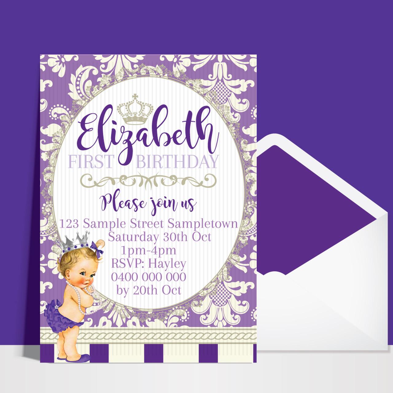 princess vintage purple birthday invitation