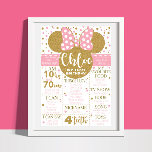 minnie mouse pink gold photo birthday