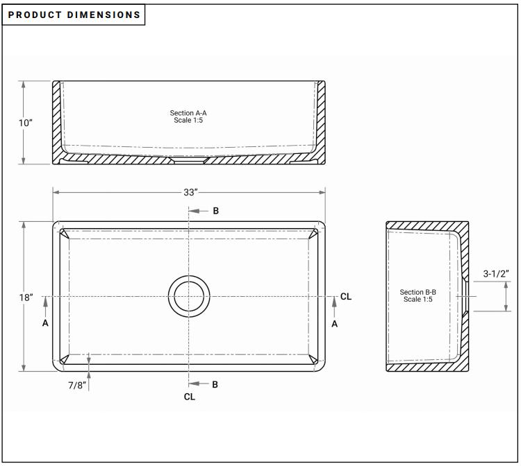 33 single bowl farmhouse fireclay kitchen sink