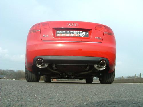 milltek cat back exhaust for audi a4 2 0 tfsi b7 quattro and dtm