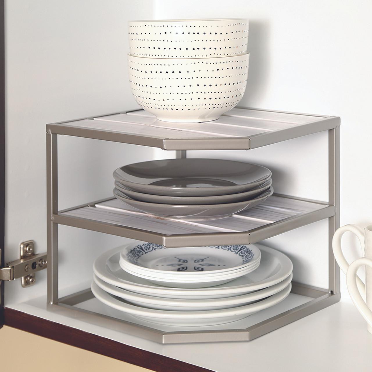seville stacking 2 tier cabinet pantry corner shelf silver white