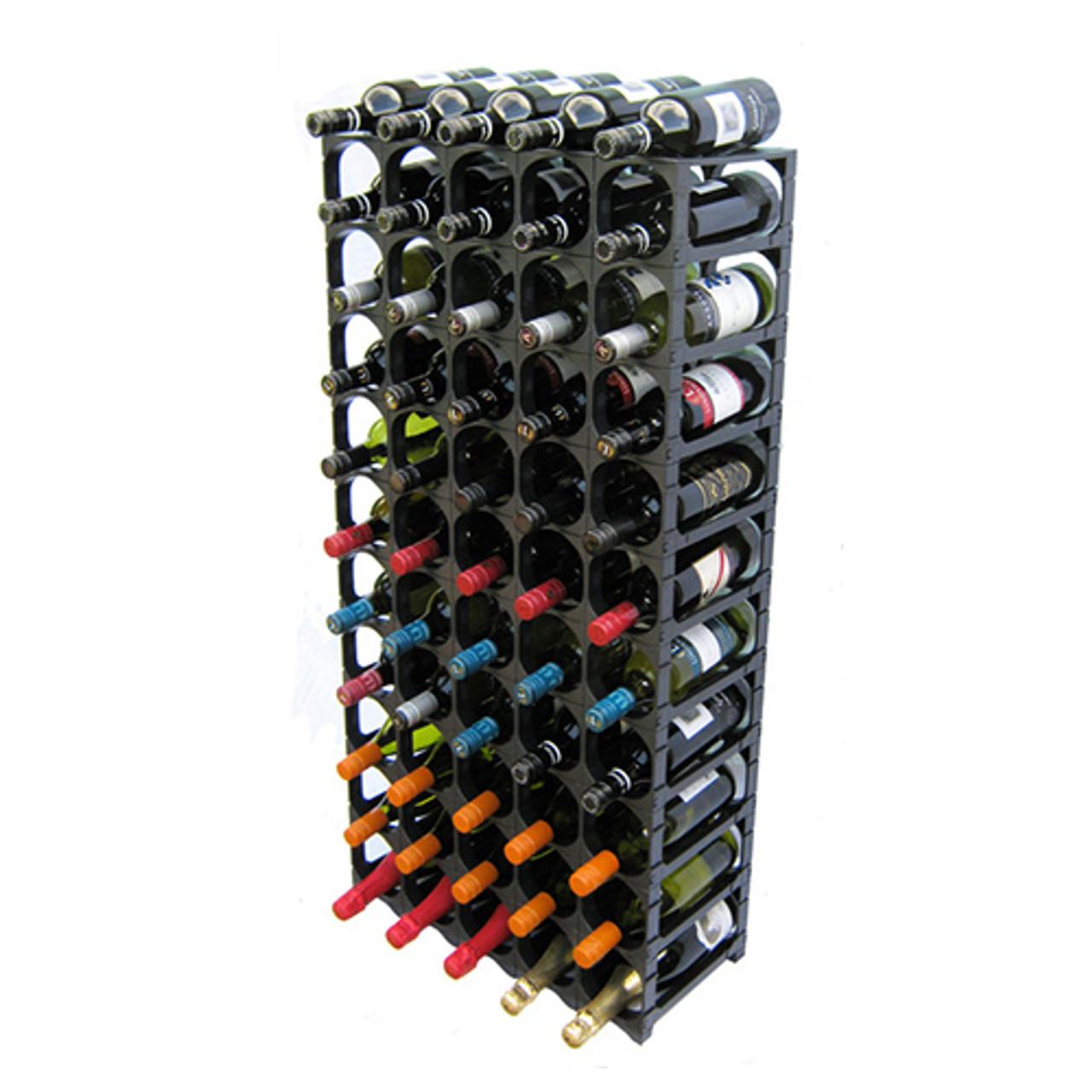 cellarstak 55 60 bottle black wine rack