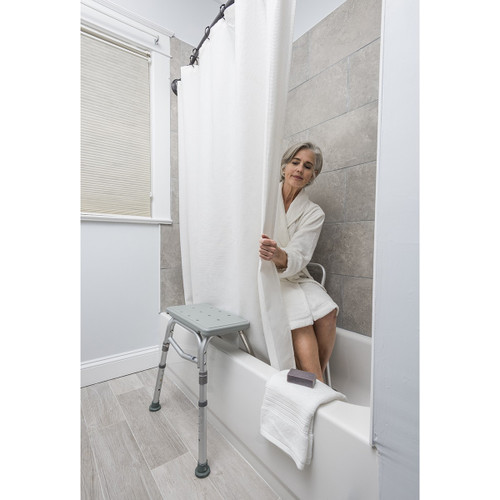 drive medical rtl12032kdr splash defense transfer bench with curtain guard protection