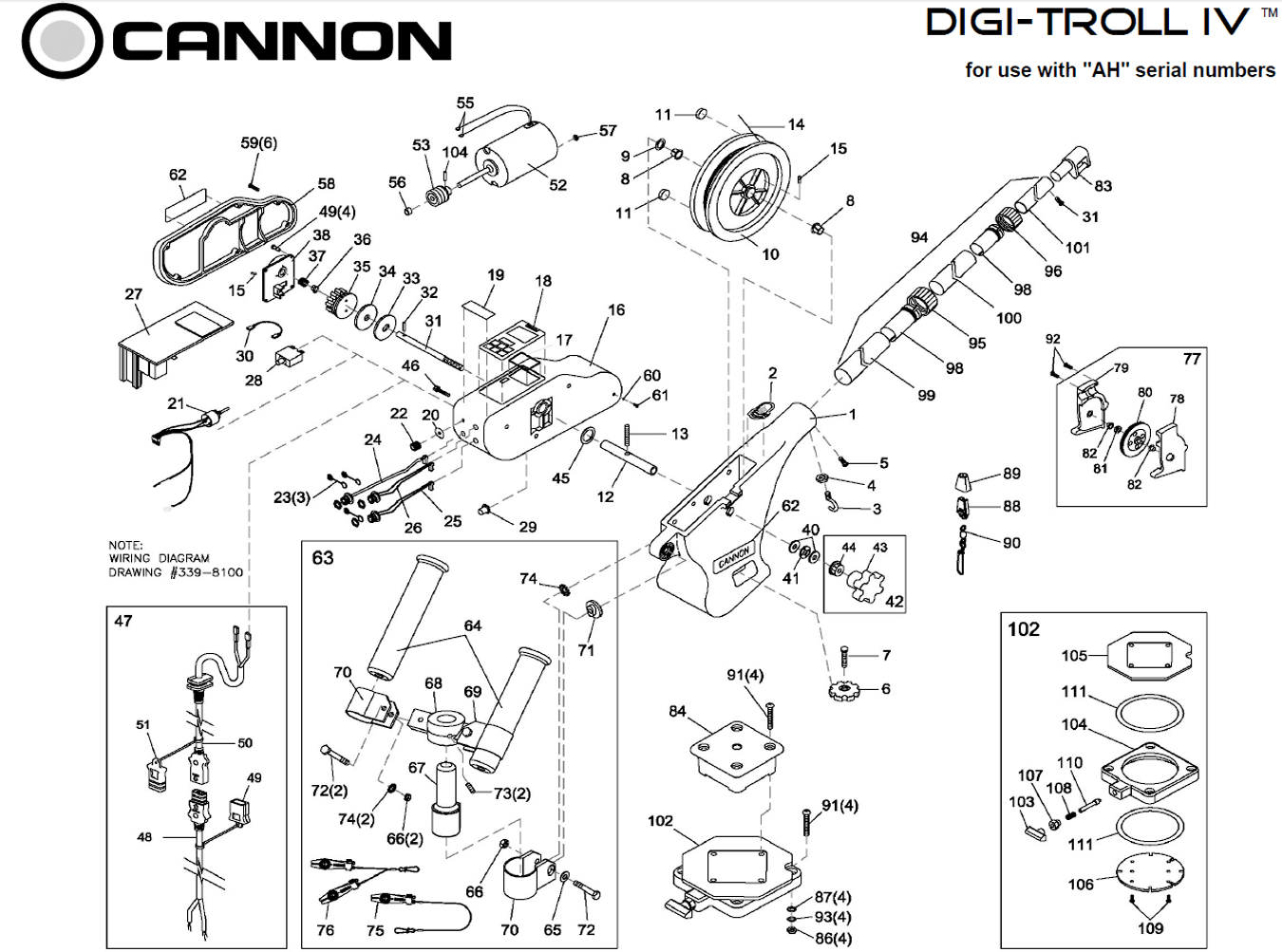 Order Cannon Digi Troll Iv Electric Downrigger Parts From