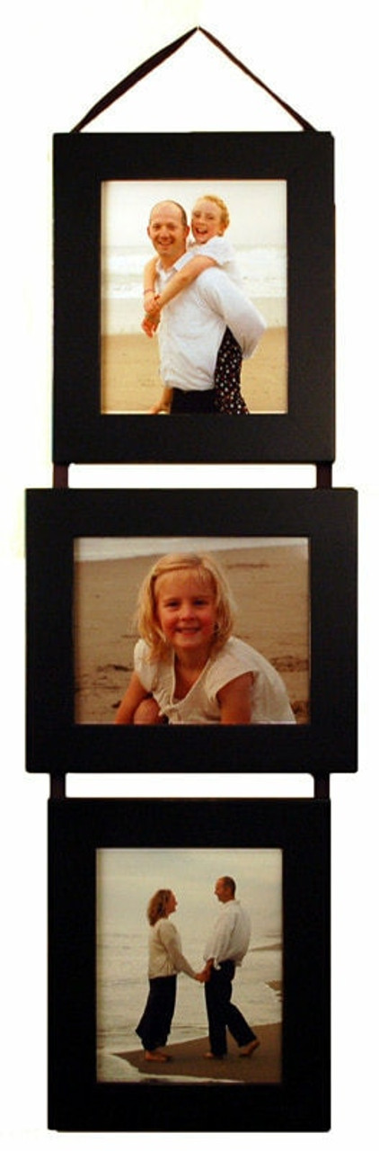 8x10 collage picture frame set with 2 portrait vertical and 1 landscape horizontal openings on hanging ribbon