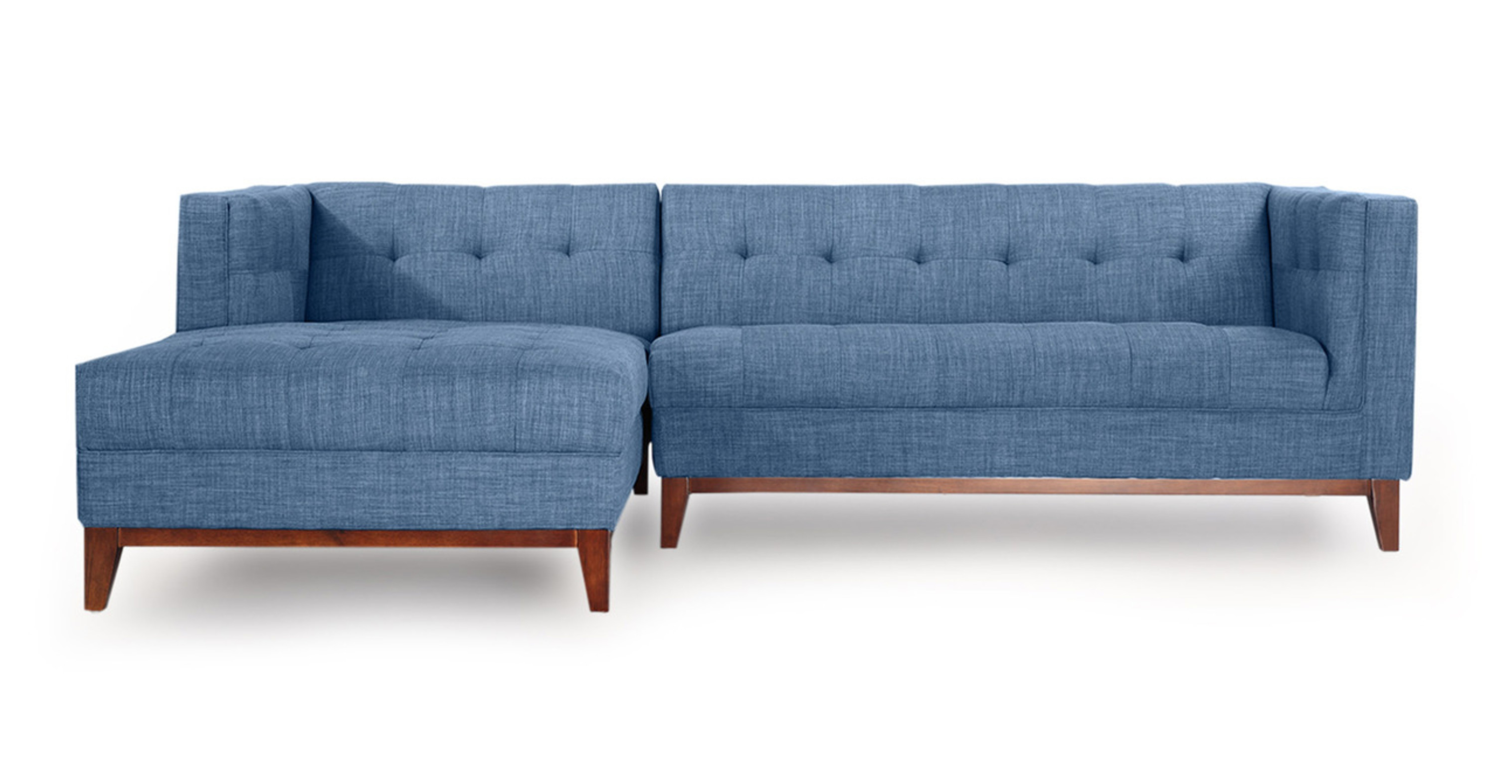 Harrison Chaise Sectional Left Face Blue Curacao