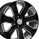 22 Gmc 2015 Denali Wheels Yukon Sierra Cadillac Fits Chevrolet Escalade Chevy Gmc Tahoe Silverado Gloss Black With Chrome Inserts 22x9 Set 4 Rims Stock Wheel Solutions