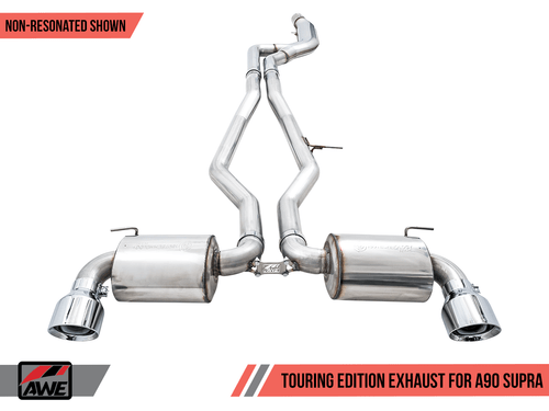 awe resonated touring exhaust chrome tips for toyota supra a90