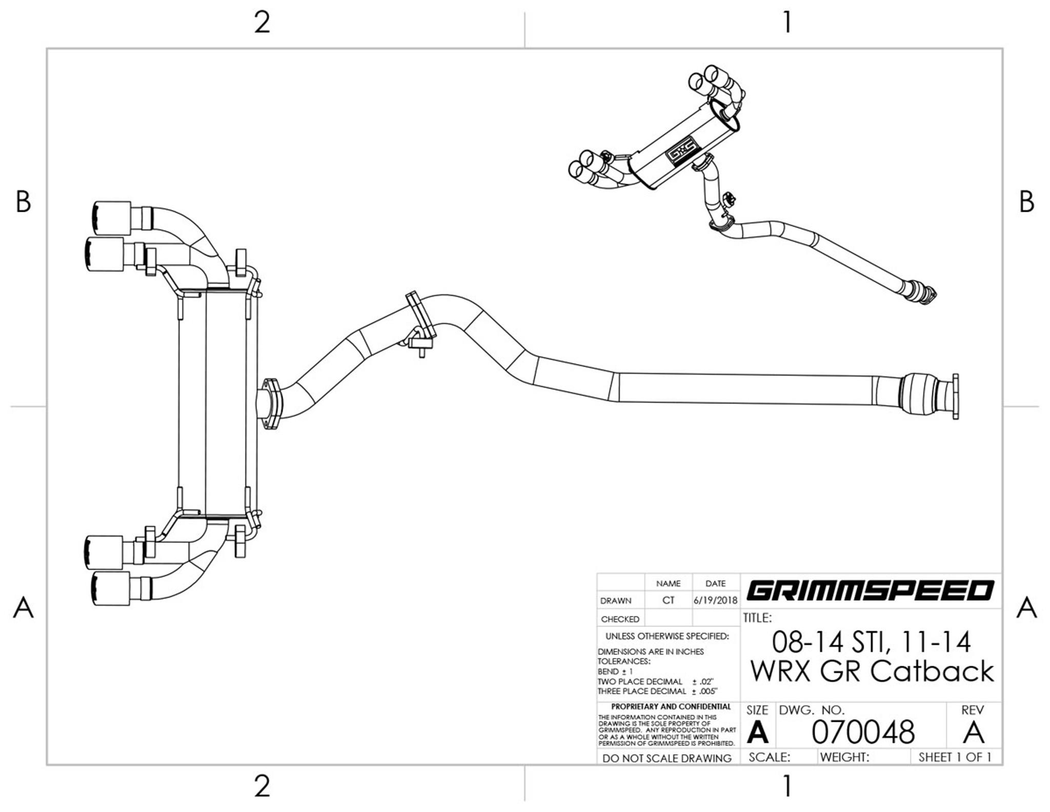 catback exhaust system resonated 11 14 wrx 08 14 sti hatchback