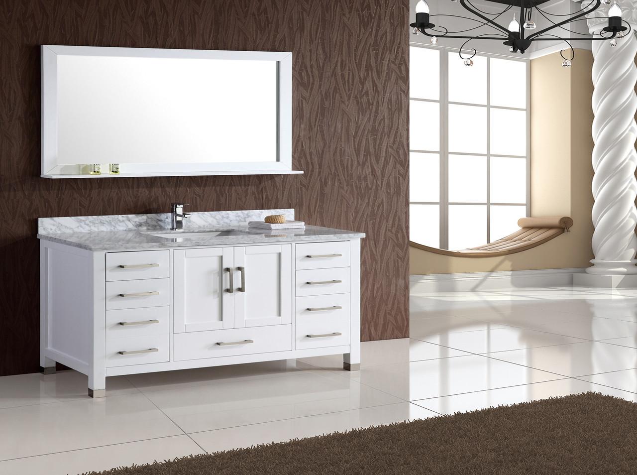 armada 55 white single sink bathroom vanity