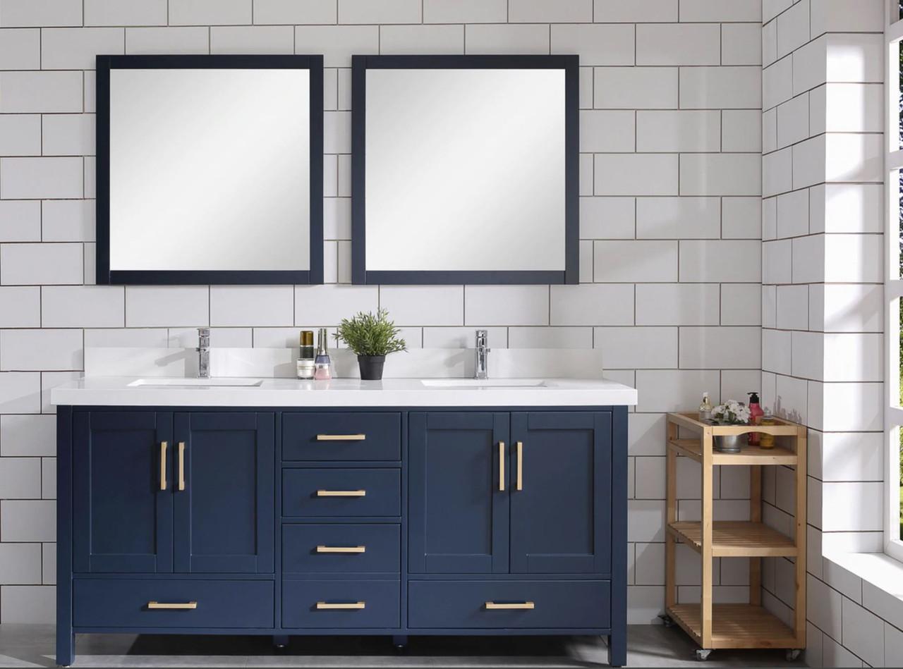 armada 60 blue double sink bathroom vanity