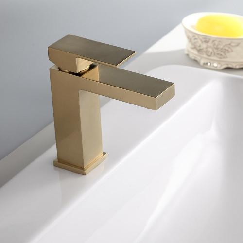 royal square single hole single handle bathroom faucet brushed gold