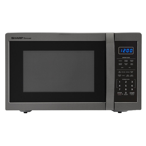 1 4 cu ft 1100w sharp black stainless steel countertop microwave oven smc1452ch