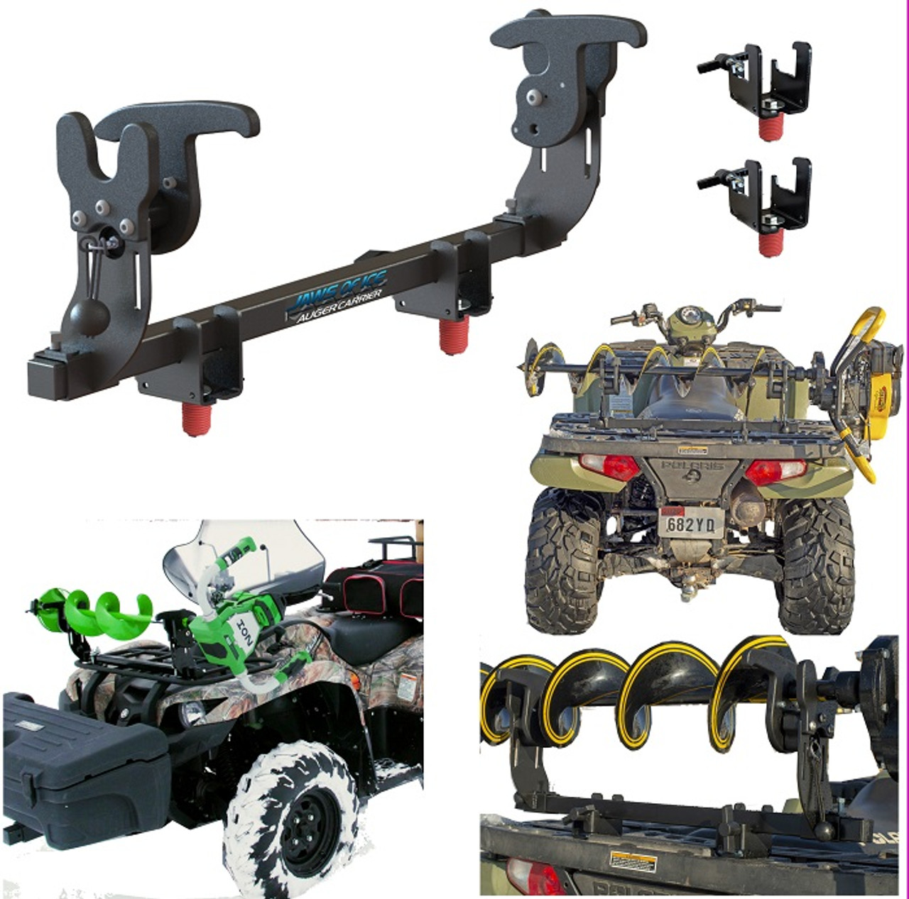 ice auger carrier for polaris sportsman lock ride jaws of ice auger rack