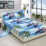 Hig 3d Dolphin And Palm Tree Print Sheet Set Super Soft Breathable Hypoallergenic Fade Resistant