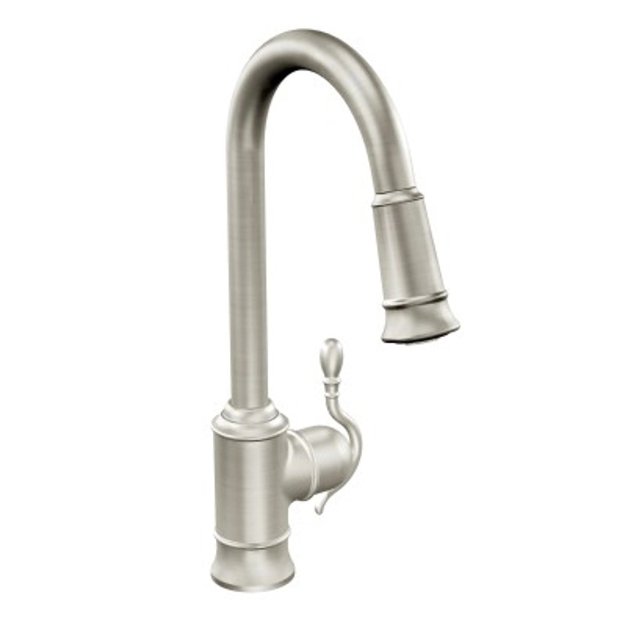 moen woodmere one handle high arc pulldown kitchen faucet