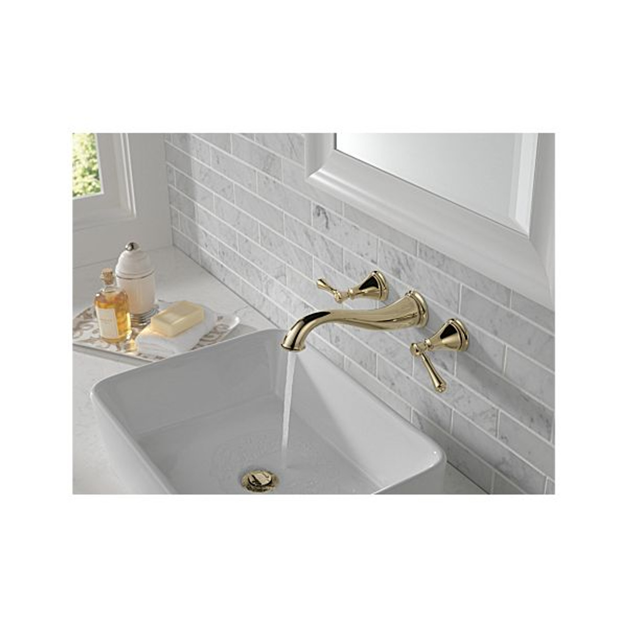 delta cassidy two handle wall mount bathroom faucet trim