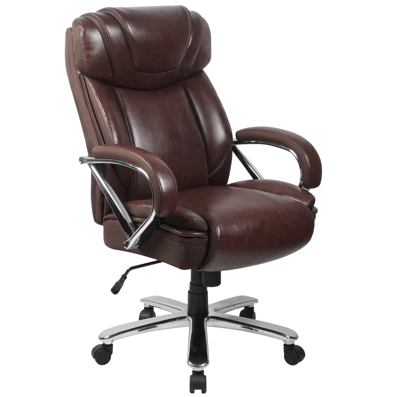 The Big Tall 500 Lb Rated Brown Leather Executive Swivel Ergonomic Office Chair With Extra Wide Seat Available At Acf Wholesale Serving Columbus Ms