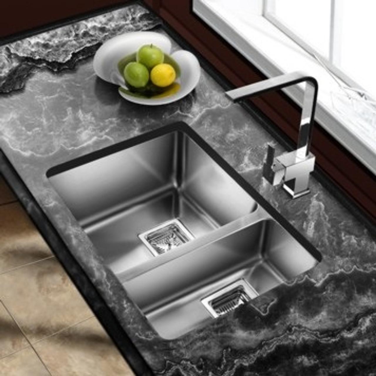 castle bay pyke 70 30 undermount kitchen sink 29 x16