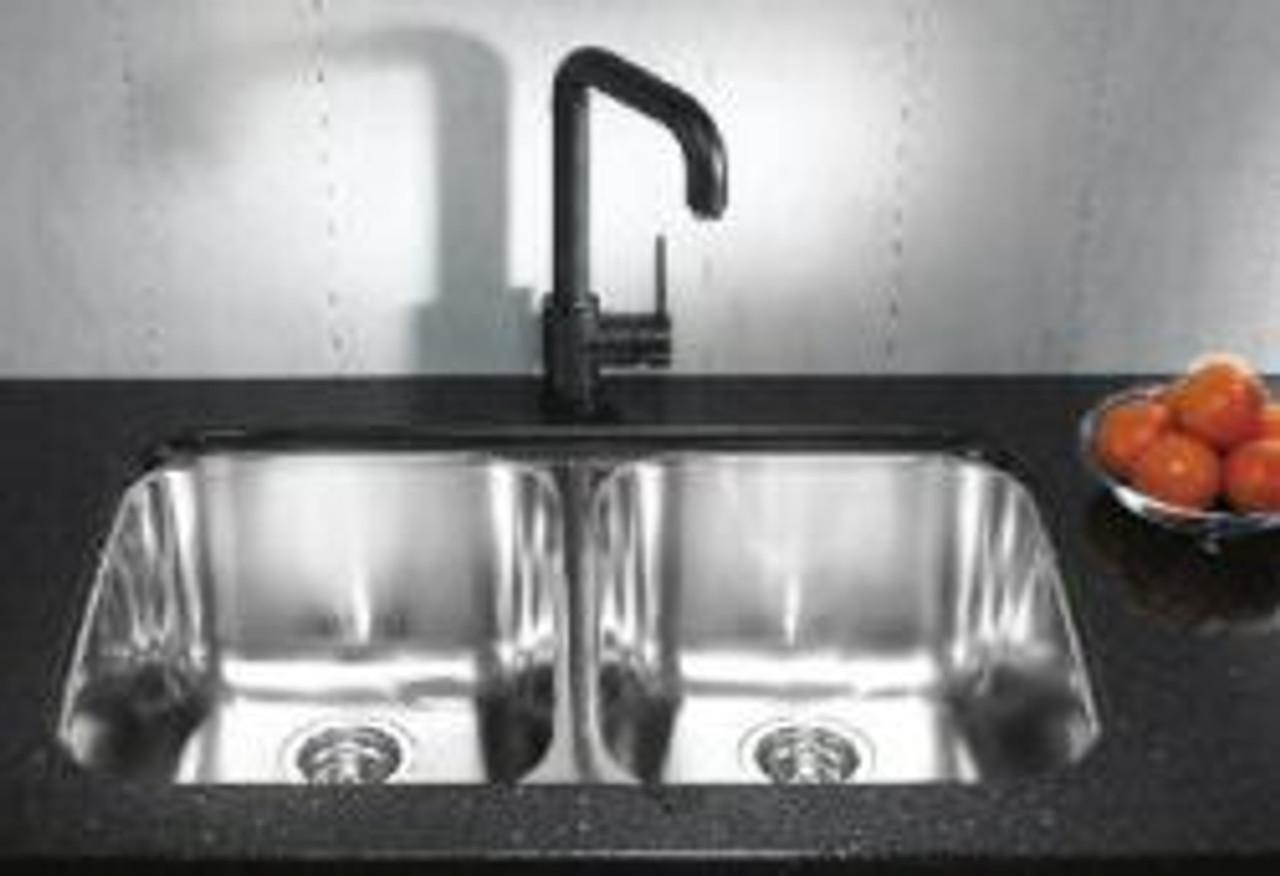 blanco supreme u 2 stainless steel double bowl undermount sink
