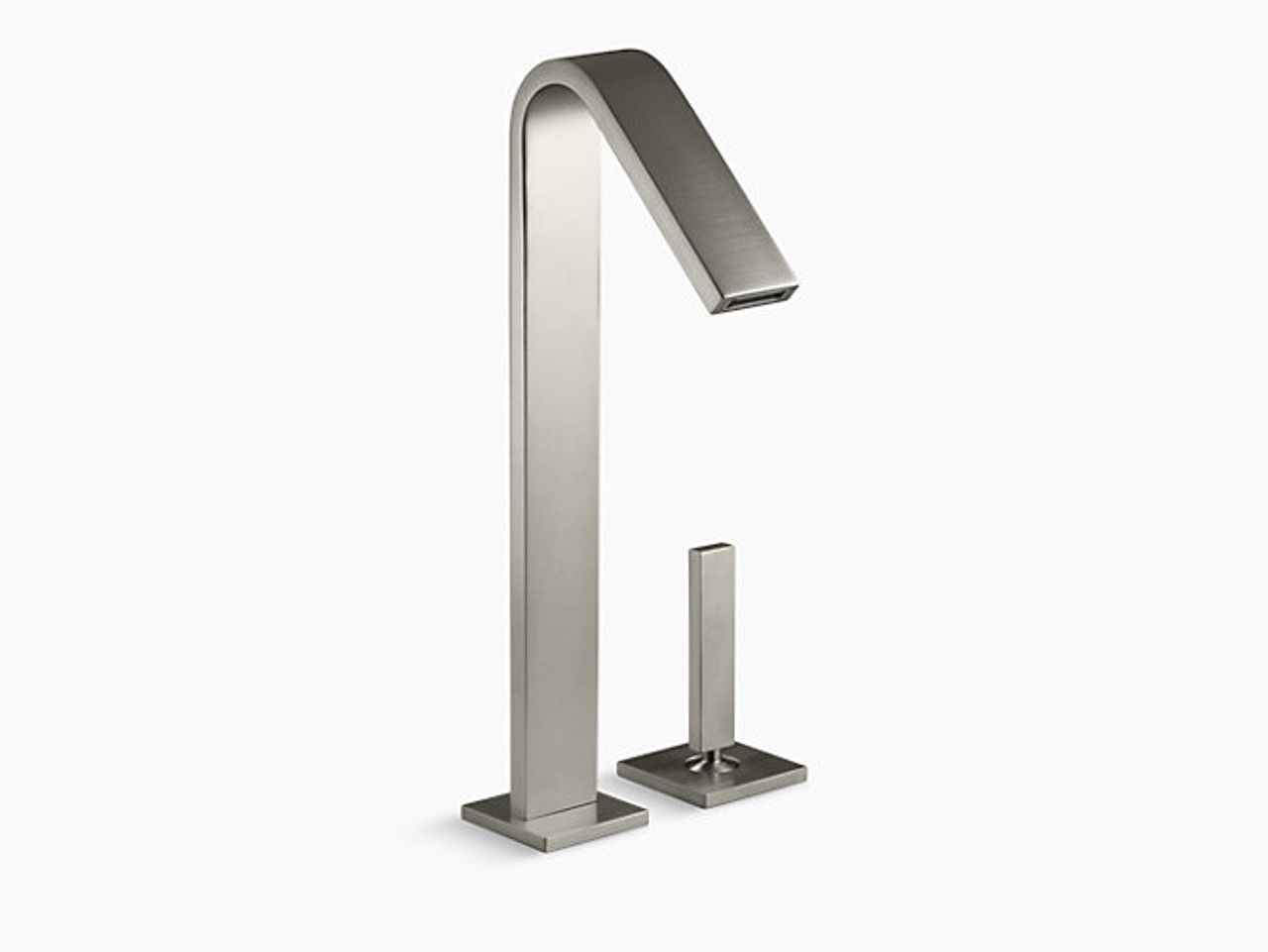 kohler loure tall single handle bathroom sink faucet with lever handle in vibrant brushed nickel