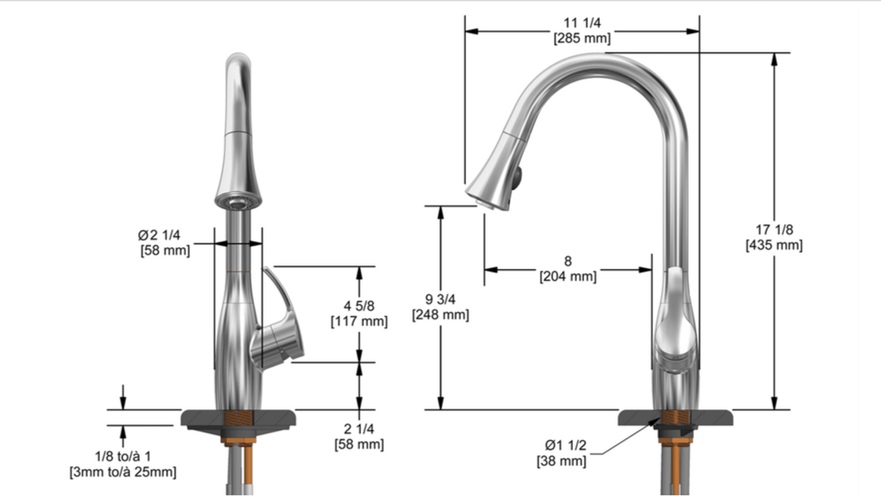 riobel flo kitchen faucet with spray chorme