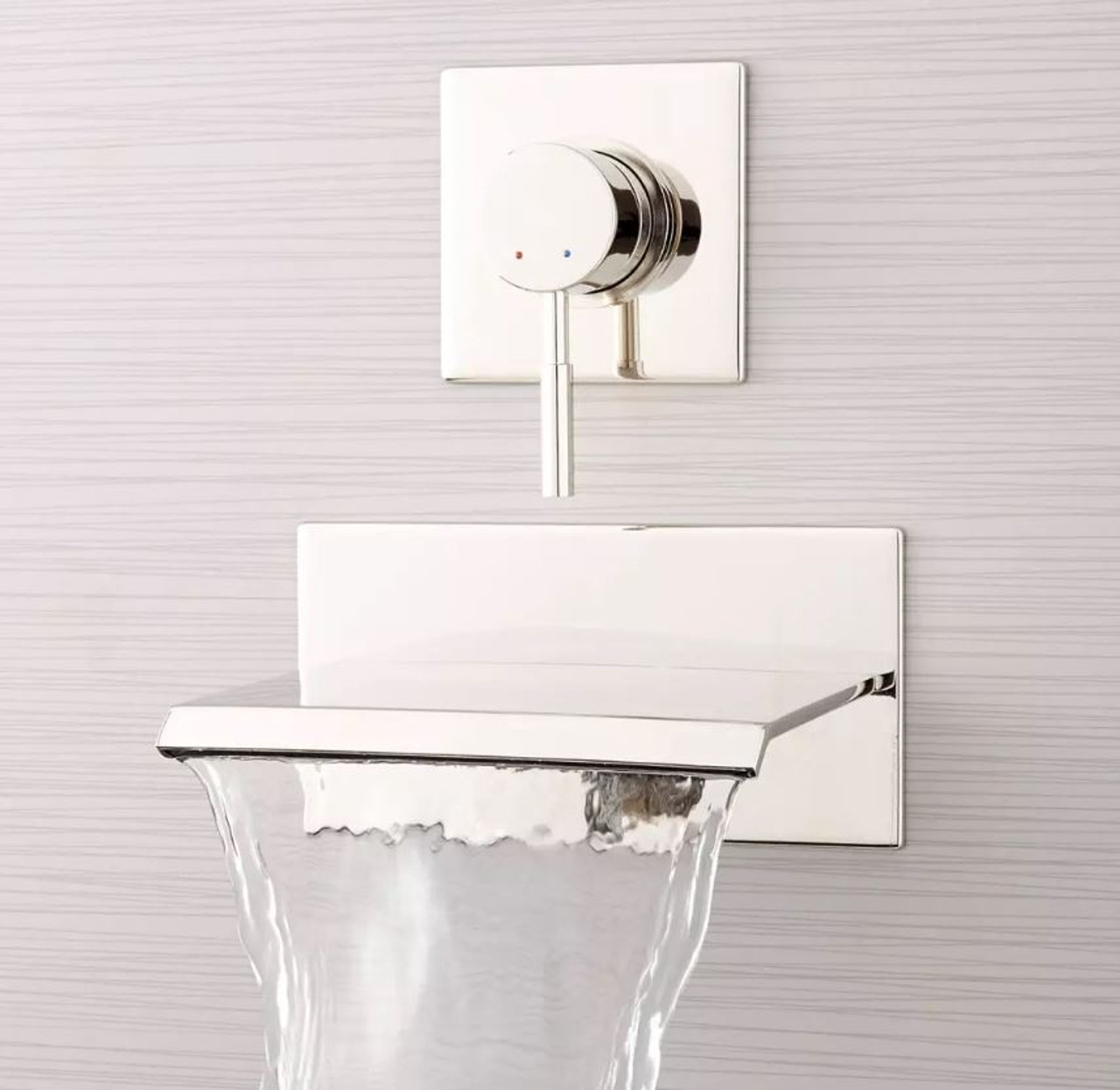 signature hardware lavelle 6 1 2 waterfall wall mounted tub filler with metal lever handle diverter