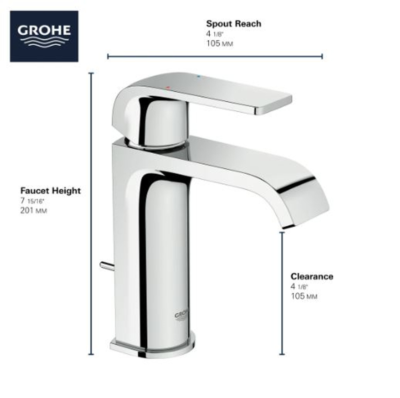 grohe defined 1 2 gpm single hole bathroom faucet with pop up drain assembly silkmove and ecojoy technologies