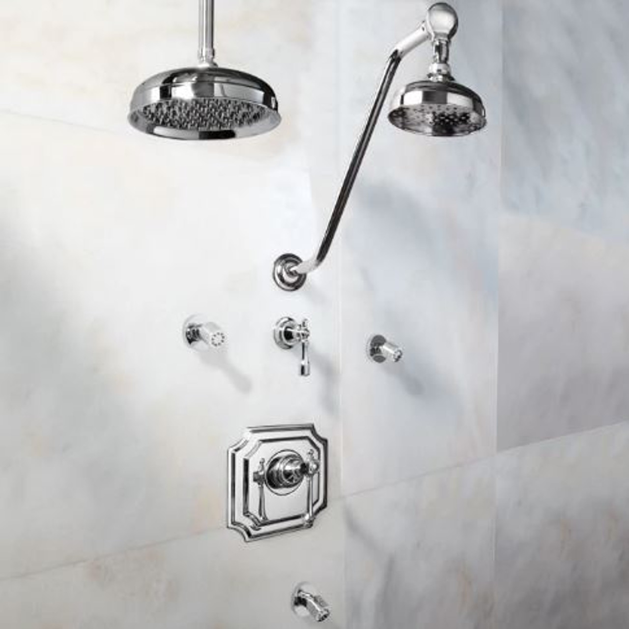 signature hardware vintage shower system 14 rain shower body sprays lever handles